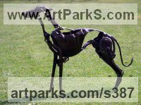 Scrap Metal Dogs sculpture by Helen Denerley titled: 'Kipper (Scrap Metal, Found Objects Lurcher Yard/garden sculptures)'