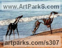 Scrap metal Dogs sculpture by Helen Denerley titled: 'Smokie and Kipper (abstract life size Hounds sculpture)'