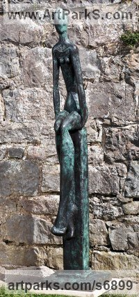 Bronze Stylized People sculpture by Helen Sinclair titled: 'Just Sitting (Bronze abstract Contemporary Girl/female statue sculpture)'