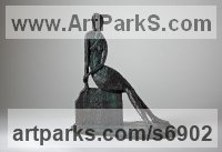 Bronze Figurative Abstract Modern or Contemporary Sculptures Statues statuary statuettes figurines sculpture by Helen Sinclair titled: 'Sitting Pretty (Bronze Stylised semi abstract female statuette figurtn)'