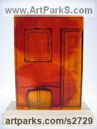 Cast Amber Glass Organic / Abstract sculpture by Helen Slater titled: 'Time to go (Small Glass Interior Indoor sculpture)'