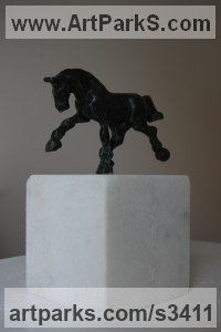 Bronze, marble Horse Sculpture / Equines Race Horses Pack HorseCart Horses Plough Horsess sculpture by sculptor Helle Rask Crawford titled: 'Andalusian I (Small Horse/Stallion Trotting Bronze statuettes)'
