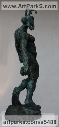 Bronze Surrealist sculpture by sculptor Helle Rask Crawford titled: 'Ant! (Half Ant and Half Human Bronze statuette)'