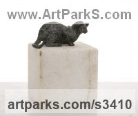 Cats Sculpture by sculptor artist Helle Rask Crawford titled: 'Cat. Hommage a da Vinci (Bronze Lying Watching statue/statuette)' in Bronze, marble