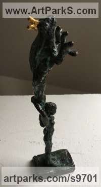 Bronze, gold Nudes, Female sculpture by Helle Rask Crawford titled: 'Frog Acrobatics (Fun Frog Prince sculptures)'