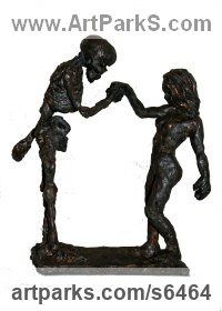 Bronze Couples or Group sculpture by Helle Rask Crawford titled: 'Handkiss (bronze skeleton and Young Girl, life and Death sculpture)'