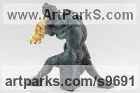 Bronze, gold Love / Affection sculpture by Helle Rask Crawford titled: 'Heavenly Love. Sergei`s Dream (Small sculpture)'