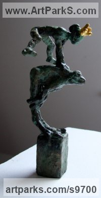 Bronze, gold Nudes, Female sculpture by Helle Rask Crawford titled: 'Leapfrog with Princess'