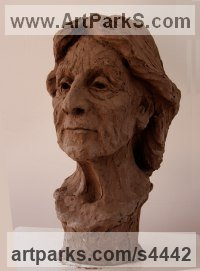Fired clay Ceramic sculpture by Helle Rask Crawford titled: 'Portrait of Nal Boglino (BustHead statues)'