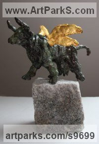 Bronze Fantasy sculpture or Statue sculpture by Helle Rask Crawford titled: 'Spring Happy Cow (Little Skipping statuettes)'