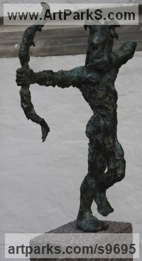 Bronze, granit Modern Abstract Contemporary Avant Garde Sculptures or Statues or statuettes or statuary sculpture by Helle Rask Crawford titled: 'The Archer (Bronze garden Bowman sculpture)'