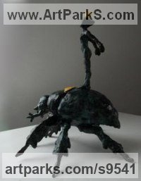 Bronze African Animal and Wildlife sculpture by Helle Rask Crawford titled: 'The Golden Beetle'