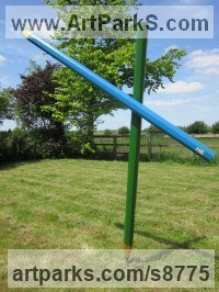 Wood and steel Conceptual Art Sculptures Statues often Large or Monumental Abstract Art sculpture by Henrietta Bud titled: 'Colouring in Grass and Sky (Large version - Fun Lawn crayon statue)'
