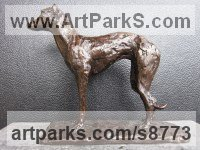 Cold Cast Bronze resin Dogs sculpture by sculptor Henrietta Bud titled: 'Lurcher (Little Standing Indoor Inside Shelf statue)'