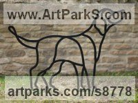 Steel Dogs sculpture by sculptor Henrietta Bud titled: 'Mans Best Friend the Labrador (Steel Outline sculpture)'