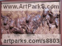Ceramic Antelope sculpture by Henrietta Bud titled: 'Stampeding Wildebeest (High relief Wall Plaque statues)'