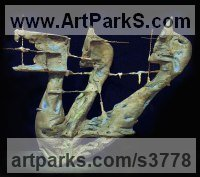 Bronze Abstract Modern Contemporary Avant Garde sculpture statuettes figurines statuary both Indoor Or outside sculpture by sculptor Henry Betzalel Zafir titled: 'Shin (abstract Contemporary Modern sculpturette sculpture)'