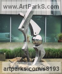 Stainless steel Abstract Contemporary or Modern Outdoor Outside Exterior Garden / Yard sculpture statuary sculpture by sculptor Hunter Brown titled: 'Paleo'