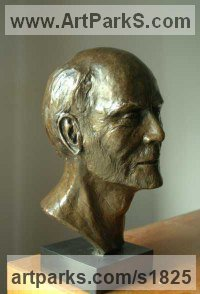 Bronze Resin Sculpture of Men by Ian Milner titled: 'Geoff Hunt PPRSMA (bronze Portrait Bust/Head Commission sculptures)'