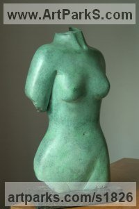 Bronze Sculptures of females by Ian Milner titled: 'Ovelia (Green bronze Girl nude Torso statuettes Figurine statue)'