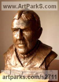 Bronze Resin Sculpture of Men by Ian Milner titled: 'The Boss (bronze sir Ernest Shackleton Portrait Bust sculptures/statue)'