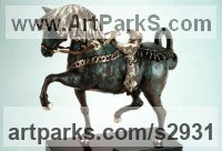 Horse and Rider / Jockey Sculpture / Equestrian Sculpture by sculptor artist ione Citrin titled: 'Antar (bronze Wild Stallion Horse Prancing sculptures/statues)' in Bronze