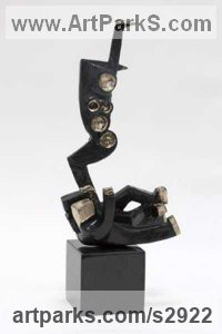 Modern Abstract Contemporary Avant Garde Sculpture or Statues or statuettes or statuary by sculptor artist ione Citrin titled: 'Dominatrix (Bronze Little abstract statues/sculpture)' in Bronze sculpture