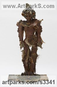 Modern Abstract Contemporary Avant Garde Sculpture or Statues or statuettes or statuary by sculptor artist ione Citrin titled: 'Tree sale (Metamorphosis Green Man/woman sculpture statue)' in Mixed media