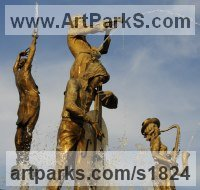 Bronze Public Art sculpture by Irakli Zhvania titled: 'Musicians Fountain (Big Water Fountain Feature sculpture in Bronze)'