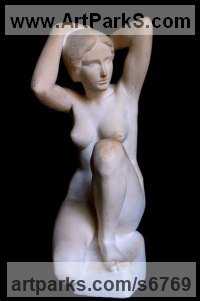 Gypsum Carved Stone, Marble, Alabaster, Soap Stone Granite Lime stone sculpture by sculptor Irodion Gvelesiani titled: 'Nymph (Kneeling Little nude Greek statuette)'