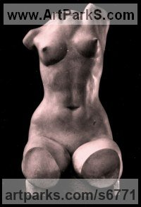 Gypsum Interior, Indoors, Inside sculpture by Irodion Gvelesiani titled: 'Tors (nude life size Woman Torso sculpture)'