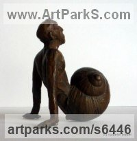 Bronze Small Animal sculpture by sculptor Isabelle Biquet titled: 'Escarghomme (Snailman Bronze garden sculpture/statue for sale)'