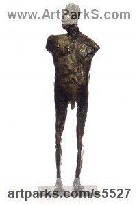 Bronze Human Form: Abstract sculpture by sculptor Isabelle Biquet titled: 'Homme debout (Modern abstract man statue)'