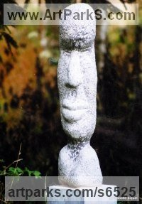 Pierre bleue belge Human Figurative sculpture by sculptor Isabelle Biquet titled: 'Homme totem'