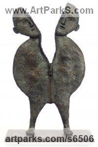 Bronze Sign of the Zodiac sculpture by Isabelle Biquet titled: 'L`ame-soeur (abstract Contemporary Sister statuette)'