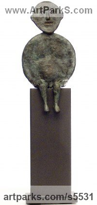 Bronze Human Figurative sculpture by sculptor Isabelle Biquet titled: 'Sitting man of the moon (homme lune assis Bronze abstract statuette)'