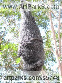 Chicken Wire Rodents sculpture by Ivan Lovatt titled: 'Bat (Chicken Wire Mesh Fruit Bat life size Roosting sculptures/statue)'