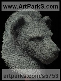 Chicken Wire Mesh/Netting Wild Animals and Wild Life sculpture by sculptor Ivan Lovatt titled: 'Hyena (Steel Chicken Wire Hyena Head/Bust Indoor sculptures/statue)'