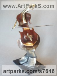 Bronze on tinted glass Sculptures of females by Iwona Biela Panufnik titled: 'Little Cellist (Little Small abstract Modern Musician Indoor statuette)'