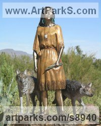 Bronze Dogs sculpture by J Anne Butler titled: 'Daughter Who Walks With Wolves (Young Squaw statue)'