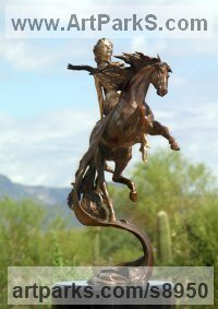 Bronze Gods or Goddess, or Deity sculpture by J Anne Butler titled: 'Epona -Goddess of Horses (nude on Horseback statue)'