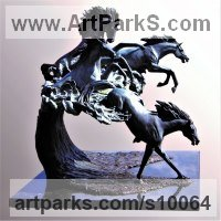 Bronze Horses Outdoors, Outside, Life Size, Big, Large, Huge Sculptures Statues memorials commissions custom made sculpture by J Anne Butler titled: 'Horse Power Bronze sculpture'