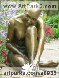 Bronze Semi Nude / Naked Girls Females Women sculpture by J Anne Butler titled: 'Purity (Little Simple Seated Naked Girl Bronze statue)'