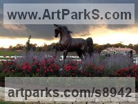 Bronze Horses Outdoors, Outside, Life Size, Big, Large, Huge Sculptures Statues memorials commissions custom made sculpture by J Anne Butler titled: 'Stepping High II (life size Equines Horses statues)'