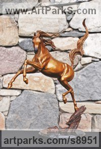 Bronze Horses Abstract / Semi Abstract / Stylised / Contemporary / Modern Statues Sculptures statuettes sculpture by J Anne Butler titled: 'Sunshine Dancer (Bronze Arabian horses sculptures)'