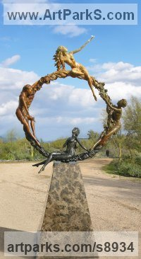 Bronze Public Art sculpture by J Anne Butler titled: 'The Seasons (4 nude Girls on Hoop Garland garden statue)'