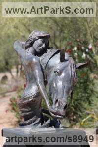 Bronze Human and Animal sculpture by J Anne Butler titled: 'To Love and Cherish (nude Girls and Horses statues)'