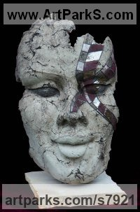 Clay Sculptures of females by Jacek OPAŁA titled: 'Pompei III (ceramic Mutilated female Face Head Mask Hanging sculpture)'