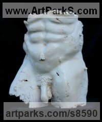 Ceramic Nude sculpture statue statuette Figurine Ornament sculpture by Jacek OPAŁA titled: 'What was in Pompei (Partial Male Torso Genitals sculpture)'