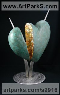 Pop Art Sculpture by sculptor artist Jack Biesek titled: 'Separation (Severed Heart Symbolic Contemporary sculpture)' in Bronze, stainless steel, gold leaf